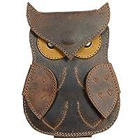 Hide & Drink,皮革吉他拨片盒猫头鹰设计,拨片盒,吉他手礼品,音乐家配件,手工制作包括 101 年质保:波旁棕色