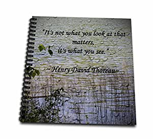 3dRose db_127862_2 Thoreau Quote A Lake Scene Photo with Memory Book, 12 by 12""