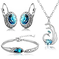 Valentine Gift By Shining Diva Platinum Plated Crystal Combo Jewellery of Pendant Necklace Set With Earrings & Bracelet For Girls and Women
