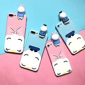 适用于 iPhone 6 6s 6plus 7 7Plus 的 3D 唐老鸭和雏菊玩偶手机壳 磨砂软硅胶手机壳后盖 blue iphone7