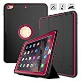 New iPad 9.72017case-dunno 网格防滑表面三层重型全身保护套适用于 Apple iPad 9.72017 ipad ( *5代 ) Black+Rose
