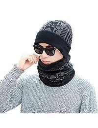 Century Star 冬季羊毛内衬无檐小便帽围巾套装针织保暖帽厚圆圈围巾 男女皆宜