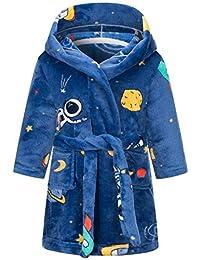 Ameyda 女童儿童成人柔软法兰绒浴袍,1 岁 - 成人 XL 码 蓝色 - 太空 11-12 Years