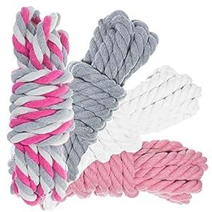 Craft County 天然扭纹棉绳 - 超柔软三根手工绳 - 装饰、艺术和工艺品、麦林 - 1/4 和 1/2 英寸直径 - 40 和 100 英尺组合套件 - 多种颜色 白色、灰色、粉色 1/2 inch - 40 feet 40FTKIT-12WGP-~CRAFT_TS1918