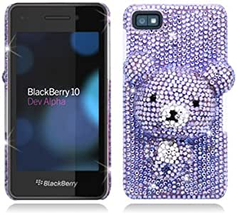 Aimo Wireless BB10PC3DXL003 3D Premium Stylish Diamond Bling Case for BlackBerry Z10 - Retail Packaging - Purple Bear
