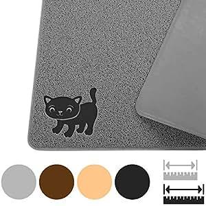 """不含 BPA 高级猫砂 MAT–超大–*优质的 kitty 砂追 with 9-tm scatter 控制–Urine proof 砂 mat- SOFT Touch 猫 paws 灰色 Extra Large 47"""" x 33"""""""