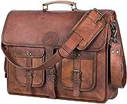 皮革公文包笔记本电脑包邮差包 16 英寸*佳手工皮革包 印度手工制作,棕色,大号