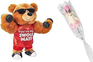 假日品种情人节熊 - 有趣的歌唱舞蹈健身熊 送给丈夫、妻子、女朋友、男友 Pumping Iron You're My Swole Mate Bonus Bear Flower Rose