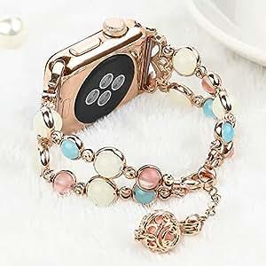 灯光兼容苹果手表带,弹性串珠夜光珍珠美丽女士女孩表带兼容 iWatch 系列4 系列3 系列2 S1 38mm/40mm Rose Gold/Gold Aluminum