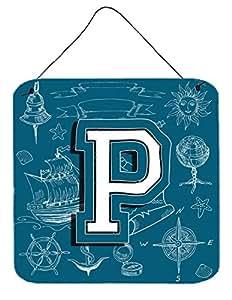 "Caroline's Treasures Letter P Sea Doodles Initial with Alphabet Wall or Door Hanging Prints, 6 x 6"""