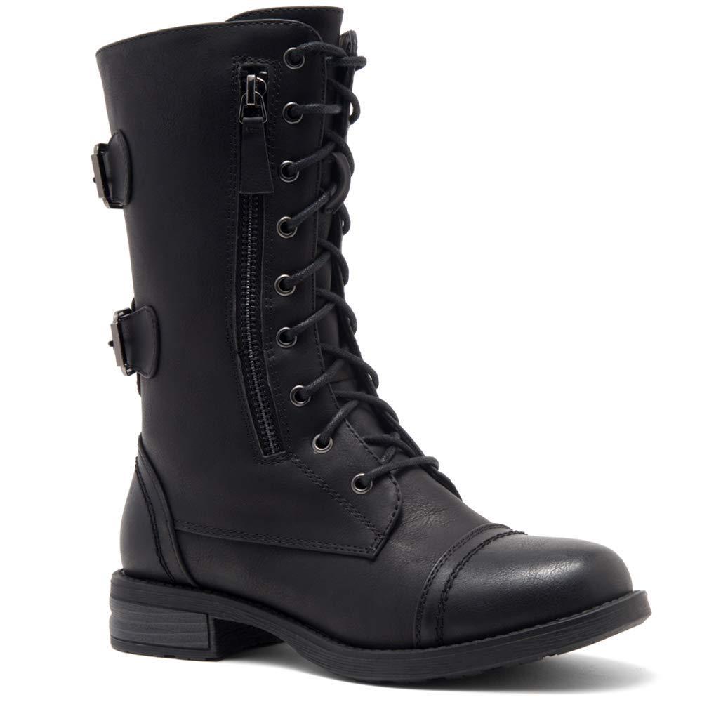 Shoe Land Kasey 女式踝系带军事战靴中筒信用卡钱钱包口袋靴