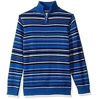 Calvin Klein 男孩细条纹半拉链毛衣