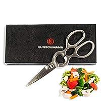 Kurschmann 8英寸(约20.32厘米)实心厨房剪刀,德国高碳不锈钢刀片,轻松切割,多功能实用剪刀,适用于肉类、蔬菜、披萨、家禽、*