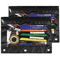铅笔袋 3 环,拉链铅笔袋袋装活页夹袋用于存放文具、化妆品、卡片和票据(2 件套,黑色)