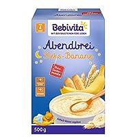 Bebivita 貝唯他 牛奶麥片粥 嬰兒輔食 不含添加糖 大包裝 晚餐麥片粥 餅干—香蕉口味 4件裝(4 x 500 g)