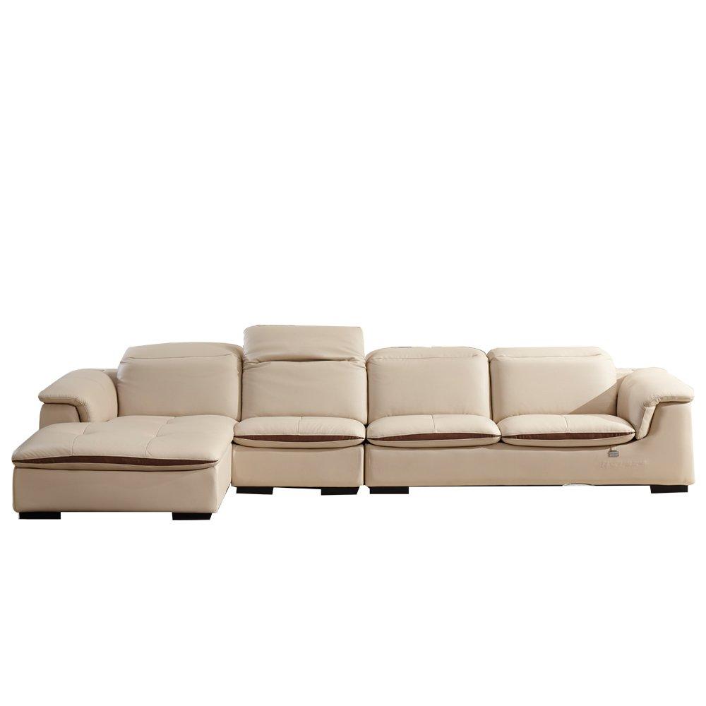 全友家居 头层牛皮沙发时尚客厅家具真皮功能组合沙发