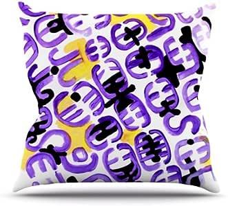 Kess InHouse Theresa Giolzetti Theodora 的态度紫色金色户外抱枕,50.8 x 50.8 厘米
