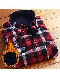 ZUOMASHI 格纹加绒衬衫男长袖衬衣 休闲衬衫 男士上衣冬装潮男休闲加厚衬衫男士加绒保暖格子衬衣