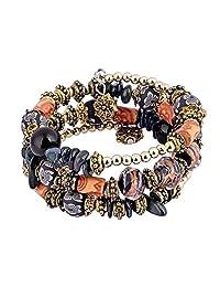 Yungger 波西米亚多层多彩珠水晶魅力部落缠绕手镯手链 黑色