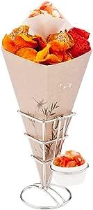 """Restaurantware 1 只单色中号不锈钢煎锅和零食锥子带三重炖锅 白色 3.1"""" RWM0044"""