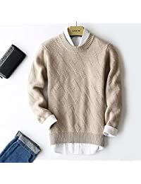 唐岚 冬新款双股加厚羊绒衫男士山羊绒衫圆领套头加厚毛衣针织衫纯色