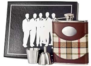 Visol Vset61-1119 原色和皮革 Groomsmen II 酒壶礼品套装,6 盎司,格子