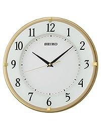 Seiko 挂钟带阿拉伯表盘,白色脸,木质,金色