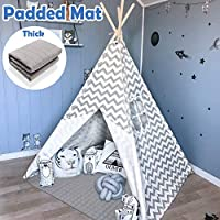 Tiny Land Teepee 儿童帐篷,儿童玩耍帐篷,适合室内和室外,5 英尺灰色 V 形图案棉帆布 T 恤