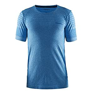 Craft 男士 蓝标舒适运动短袖速干透气防摩擦马拉松跑步T恤体恤健身训练上衣 190491601-2355-4 光波蓝/天空蓝 170/94A
