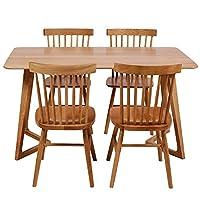 百伽 现代简约全实木餐桌椅组合进口白橡木餐厅家用一桌四椅 1.4米M型腿餐桌+4把温莎椅【亚马逊自营,供应商配送】