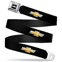 带扣式*带 - 雪佛兰蝴蝶结 黑色/金色徽标反绒 - 2.54 cm 宽 - 50.8 cm 长