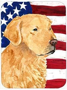 Caroline's Treasures USA American Flag with Golden Retriever Glass Cutting Board, Large, Multicolor
