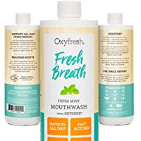 Oxyfresh Unflavored Mouthwash: Sensitive Formula For Long-Lasting Fresh Breath & Healthy Gums. Dentist recommended. No Mint, Flavors, Artificial Colors, Alcohol-Free - NO BURN, 16 oz.