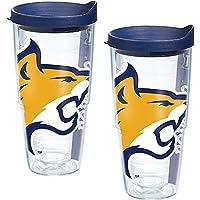 Tervis Montana State 山猫吉祥物巨型玻璃杯带包装和*蓝盖子 2 件装 24 盎司(约 680.4 克),透明