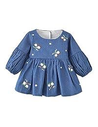 女宝宝牛仔连衣裙,花朵荷叶边连衣裙