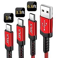 USB type c 数据线 jsaux 2只装2m USB A 2.0TO USB-C 快速充电器尼龙编织线适用于 Samsung Galaxy S9S8PLUS note 8 Moto Z Z2 LG V30V20G5G6 google Pixel XL nintendo 交换机 and more Red*3 Pack 1 feet