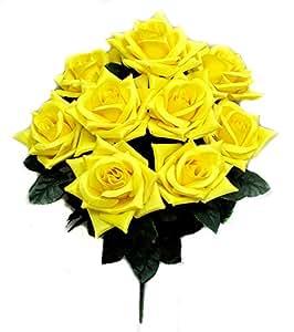 Admired By Nature 2 人工全花朵玫瑰腮红 - 9 根茎适合母亲节或家庭、餐厅、办公室和婚礼装饰 黄色 GPB183-YELLOW-2