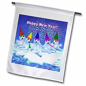 Dream Essence Designs 新年 - 一组可爱的婴儿竖琴密封件庆祝和祝每个人一个快乐的新年! - 旗帜 12 x 18 inch Garden Flag fl_11666_1