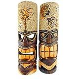 Westman Works Tiki 面具壁饰板套装 2 件手工雕刻乡村风格墙饰热带装饰,50.8 厘米长