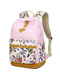 LuckyZ 女式休闲背包,轻便帆布带皮革学校小背包,可爱印花旅行笔记本电脑包,双肩书包