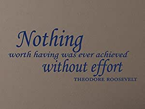 """Vinylsay""""Nothing worth Have was ever achieved without effort""""墙贴,83.82cm x 34.29cm,亮蓝色"""
