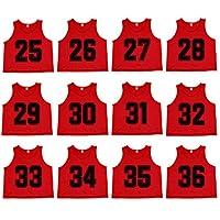 Oso Athletics 套装 12 (#1-12, 13-24) 优质涤纶网面数字球衣*背心围嘴儿童、青年和成人球队运动足球、篮球、足球、曲棍球、曲棍球