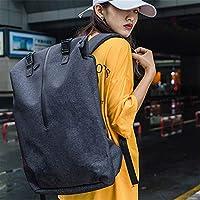 卡沐森 背包男新款双肩包女时尚潮流个性大学生书包USB接口电脑包 (黑色)