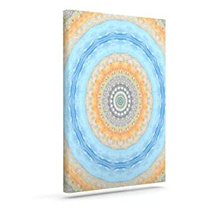 "Kess InHouse Iris Lehnhardt ""夏日曼达""圆圈橙色蓝色户外帆布墙壁艺术 8"" x 10"" 橙色 IL2027AAC01"