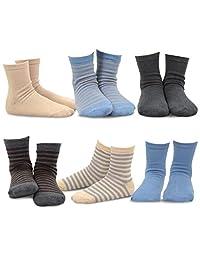 TeeHee Kids Boys Basic Stripe Cotton Crew Socks 6 Pair Pack (6-8Y, Neutral Stripes)