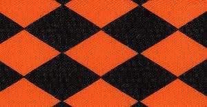 Venus Ribbon 1-1/2-Inch Jester Petite Single Faced Satin Ribbon, Orange/Black, 5-Yard