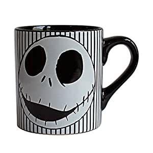 银色 Buffalo NB0232 迪士尼圣诞夜惊魂骷髅条纹陶瓷马克杯,14 盎司 多种颜色 14-Ounces NB0232