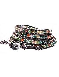 真皮印度玛瑙手链手镯袖口水钻*串珠3& 5包装可调节  5 wrap india agate