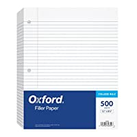 "Oxford Filler Paper, 8-1/2"" x 11"", College Rule, 3-Hole Punched, Loose-Leaf Paper for 3-Ring Binders, 500 Sheets Per Pack (62349)"