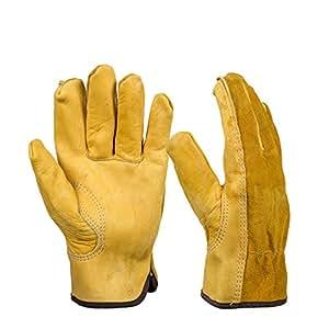 BearHoHo 工作手套牛皮驾驶手套抗冲击*花园手套皮革焊接/摩托车/修理 超大 43237-2